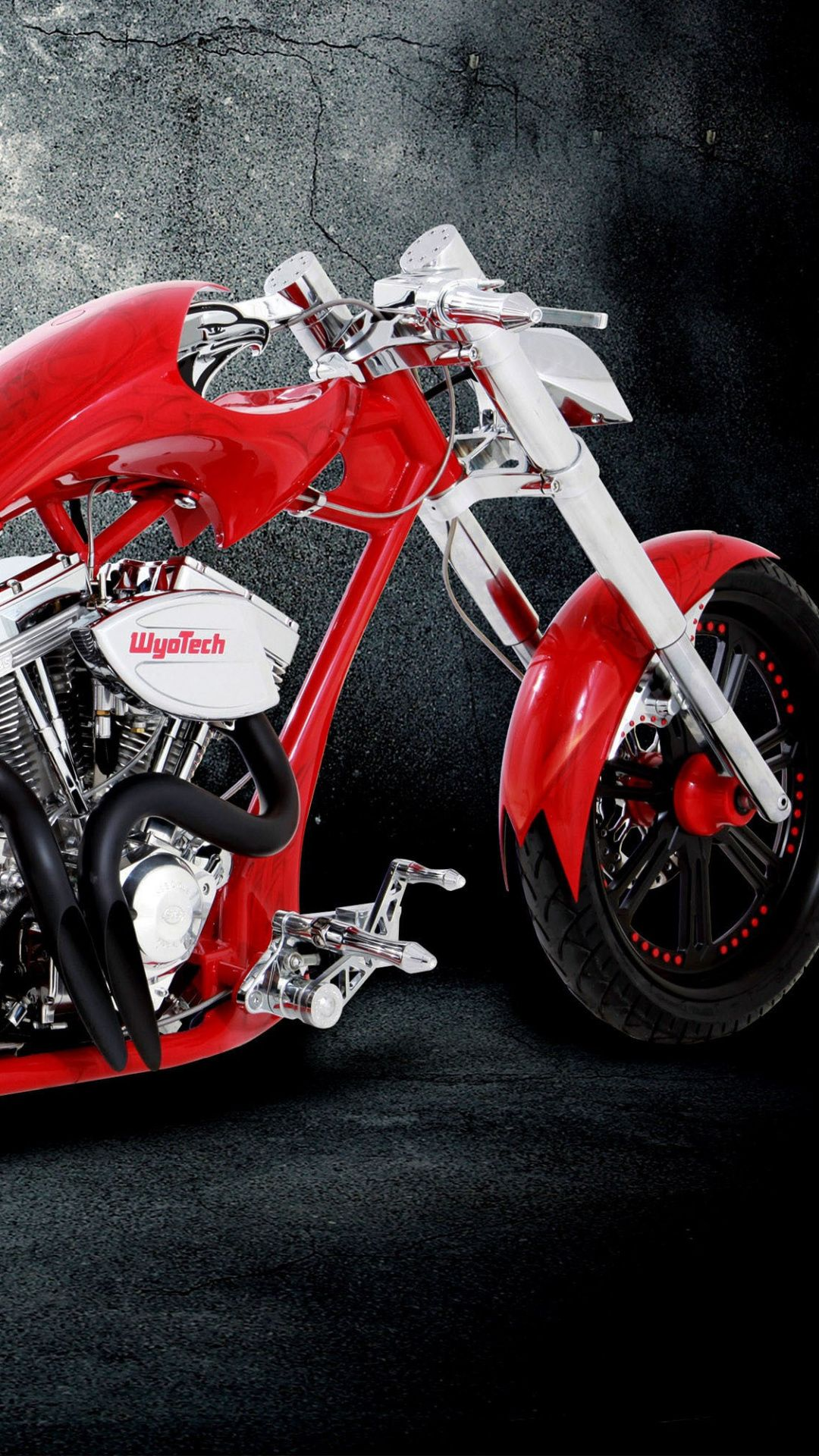 Wallpapers motorcycle, car, red, automotive tire, chopper