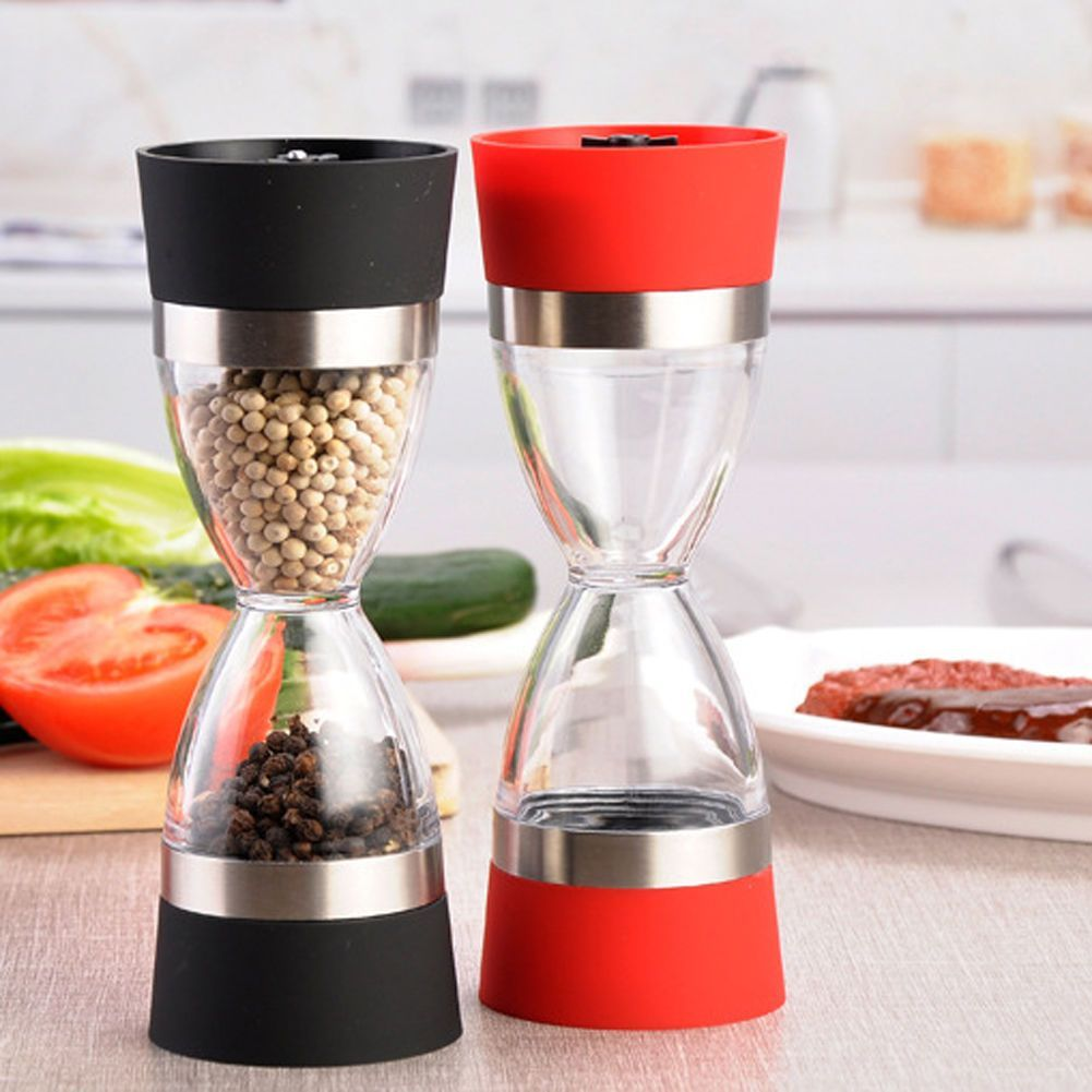 Acrylic Dual Pepper Salt Grinder Set Twist Top Spice Herb Mill ...