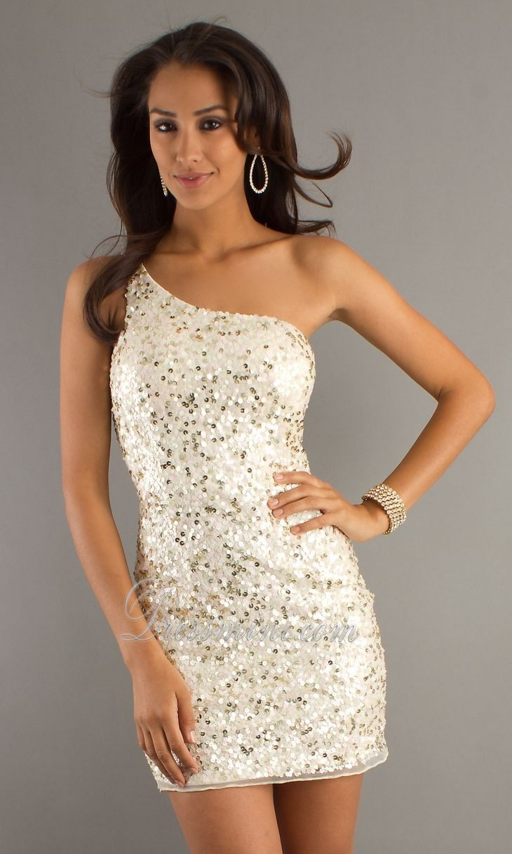 White One Shoulder Short/Mini Sequins Sparkly Homecoming Dress ...