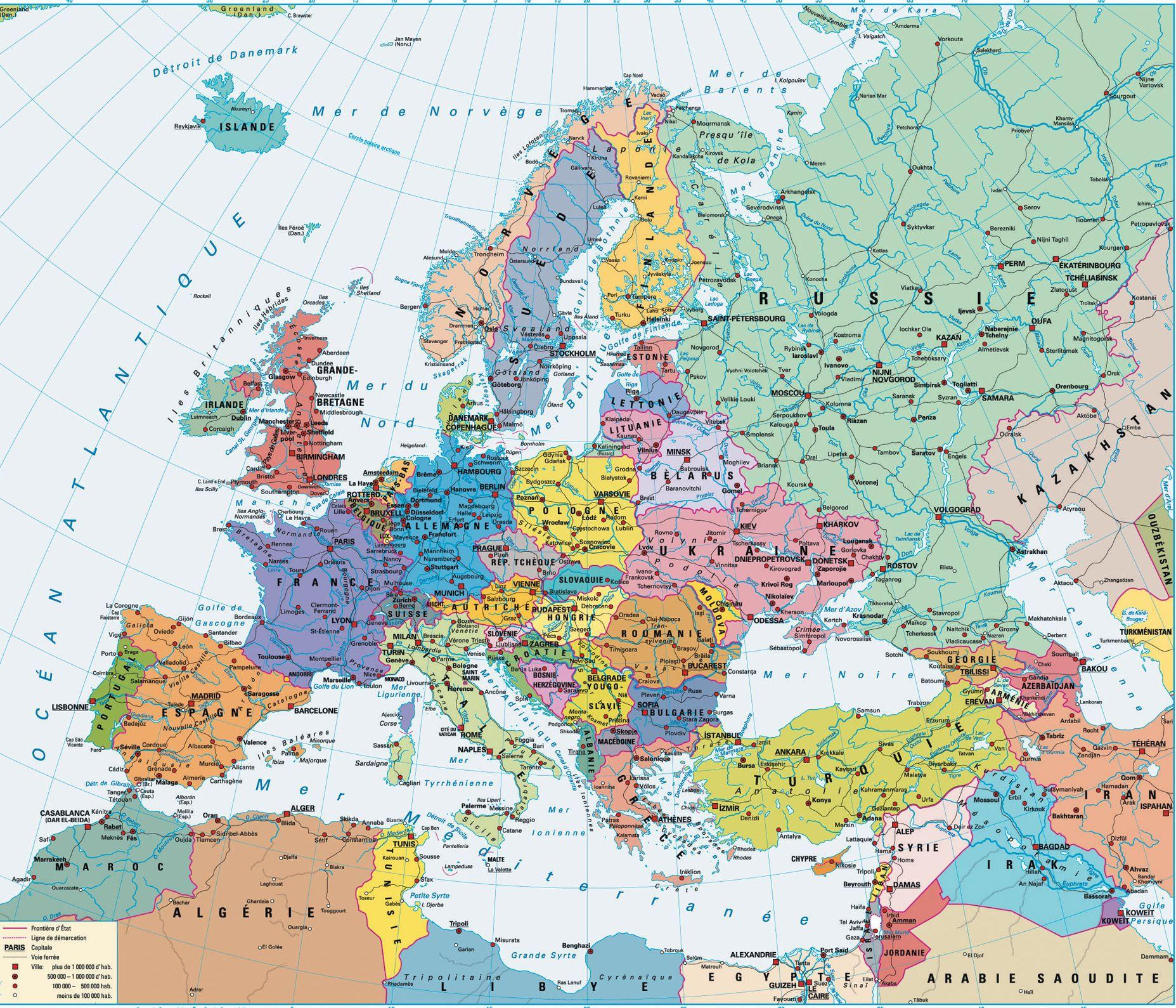 Geograficheskaya Karta Evropy Map Europe Physics
