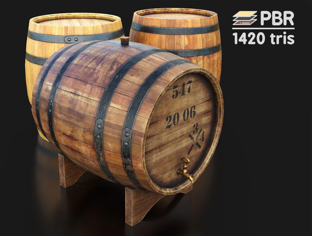 Wooden Wine Barrels 3d Model Wine Barrel Barrel Low Poly 3d Models