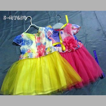 Cap sleeve printing bright flower girl dresses for modern children contact:moon01@moonyao.com  #KidsClothing #GirlsClothing #BabyClothing #KidsWear