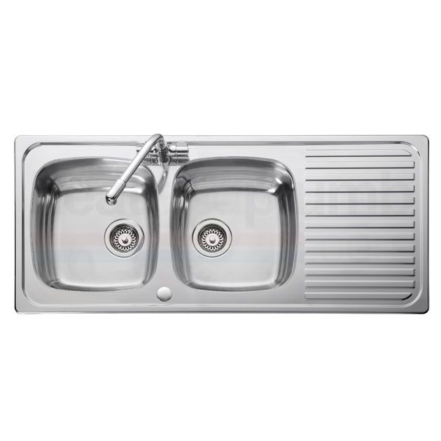 Leisure Linear LR1160DB 2.0 Bowl Stainless Steel Kitchen Sink Revers ...