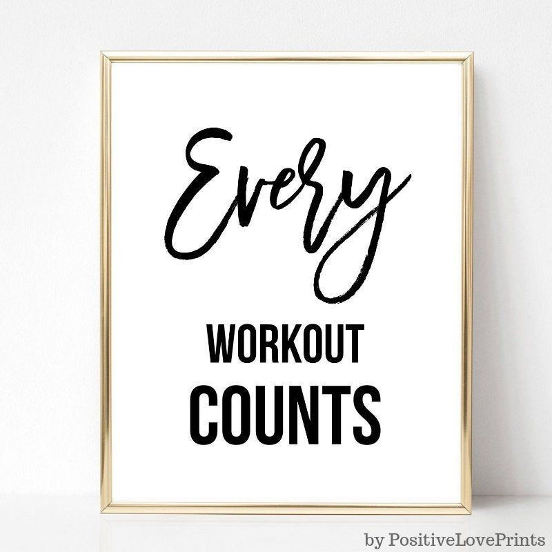Exercise, Workout, Gym Motivational Printable Wall Art, Fitness Poster, Every Workout Counts, Unfram...