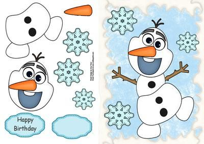 "Olaf The Snowman on Craftsuprint designed by Amy Perry - Olaf The Snowman in lovely snow effect frame with large blue snowflakes also has choice of tag ""Happy Birthday"" and a blank tag for your own sentiment  - Now available for download!"