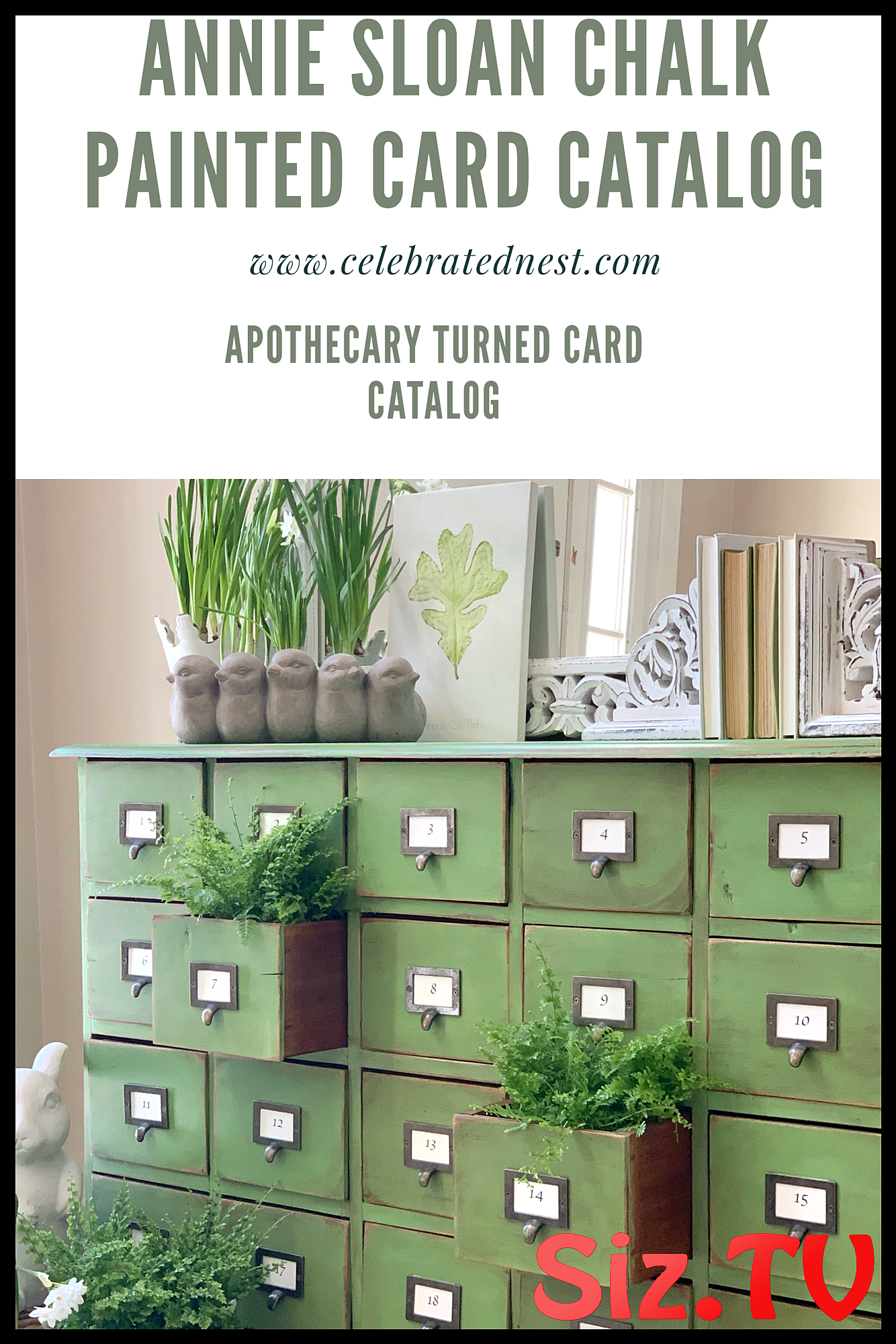 From Apothecary To Card Catalog Using Annie Sloan Chalk Paint Celebrated Nest Come See How To Make This Beautiful Green Card Catalog Using Annie Sloan Chalk Paint Chalkpaint Anniesloan Apothecary Cardcatalog Vintage Furnituremakeover