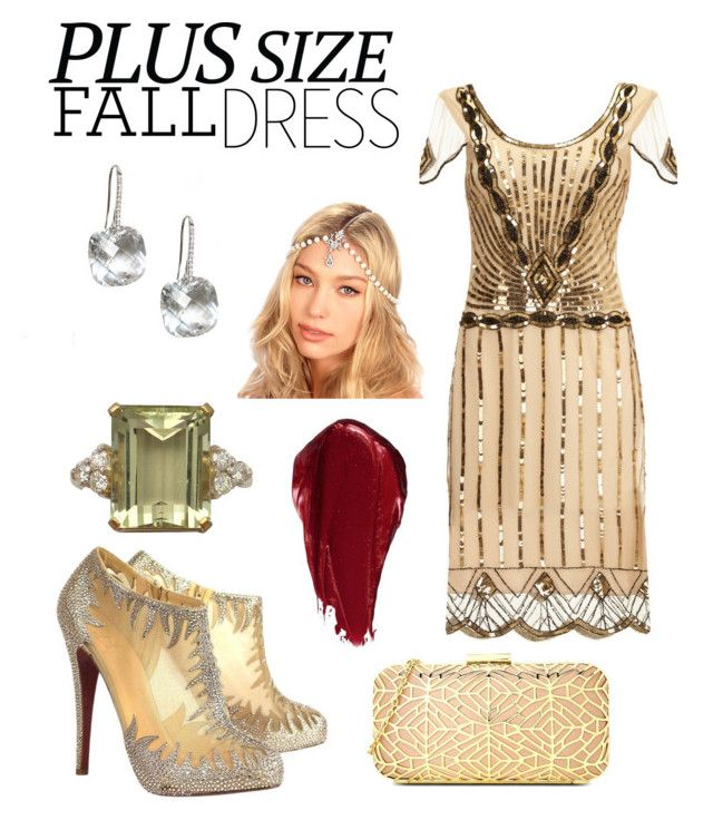 """Roaring 20's #dress"" by bellesandbeaus ❤ liked on Polyvore featuring Christian Louboutin, Kristin Perry, Love Moschino and Urban Decay"
