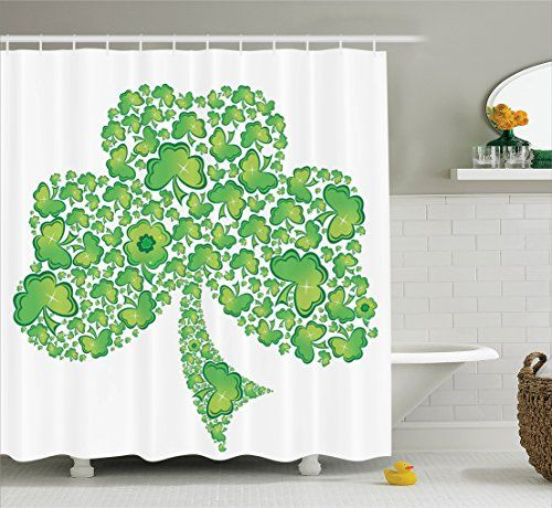 Ambesonne Celtic Decor Collection, Irish Shamrock Shower Curtain ...