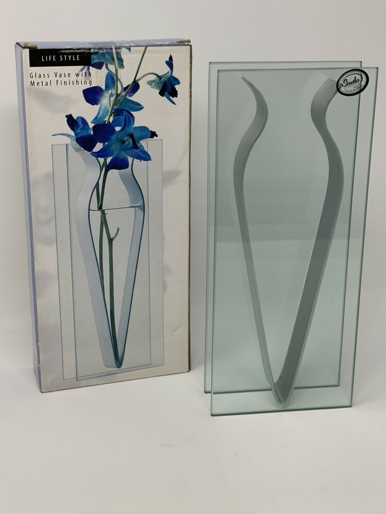 Details About Modern Glass Panel Flower Vase With Metal Finishing
