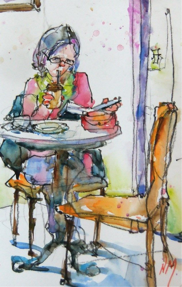 Urban Sketchers Woman Reading At A Cafe For Urban Sketchers By