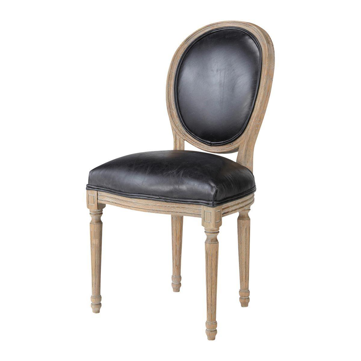 Chaise Cuir Vintage Noir LOUIS Pour Les Abimer