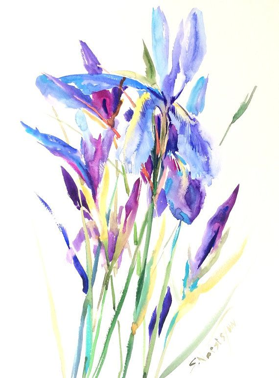 Blue Purple Irises Painting 20 X 15 In Original Watercolor