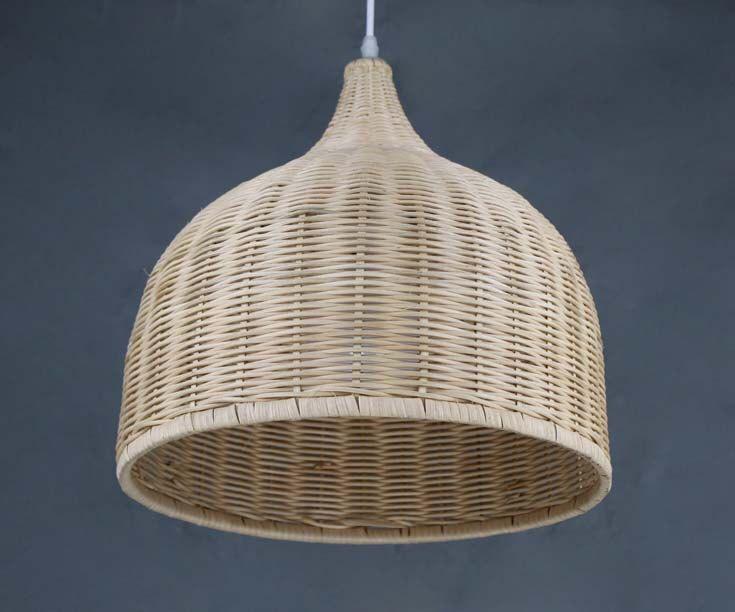 Hand Woven Bell Shaped Rattan Pendant Lights Home Living
