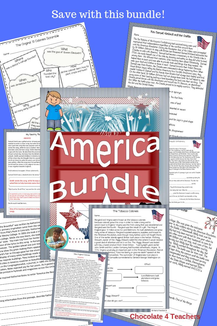 America Bundle Fiction Reading Passages Reading Passages Informational Text Passages [ 1102 x 735 Pixel ]