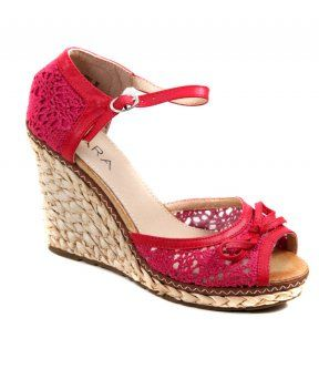8928994ca836b Tara High Wedge Crochet Shoes   ODEL