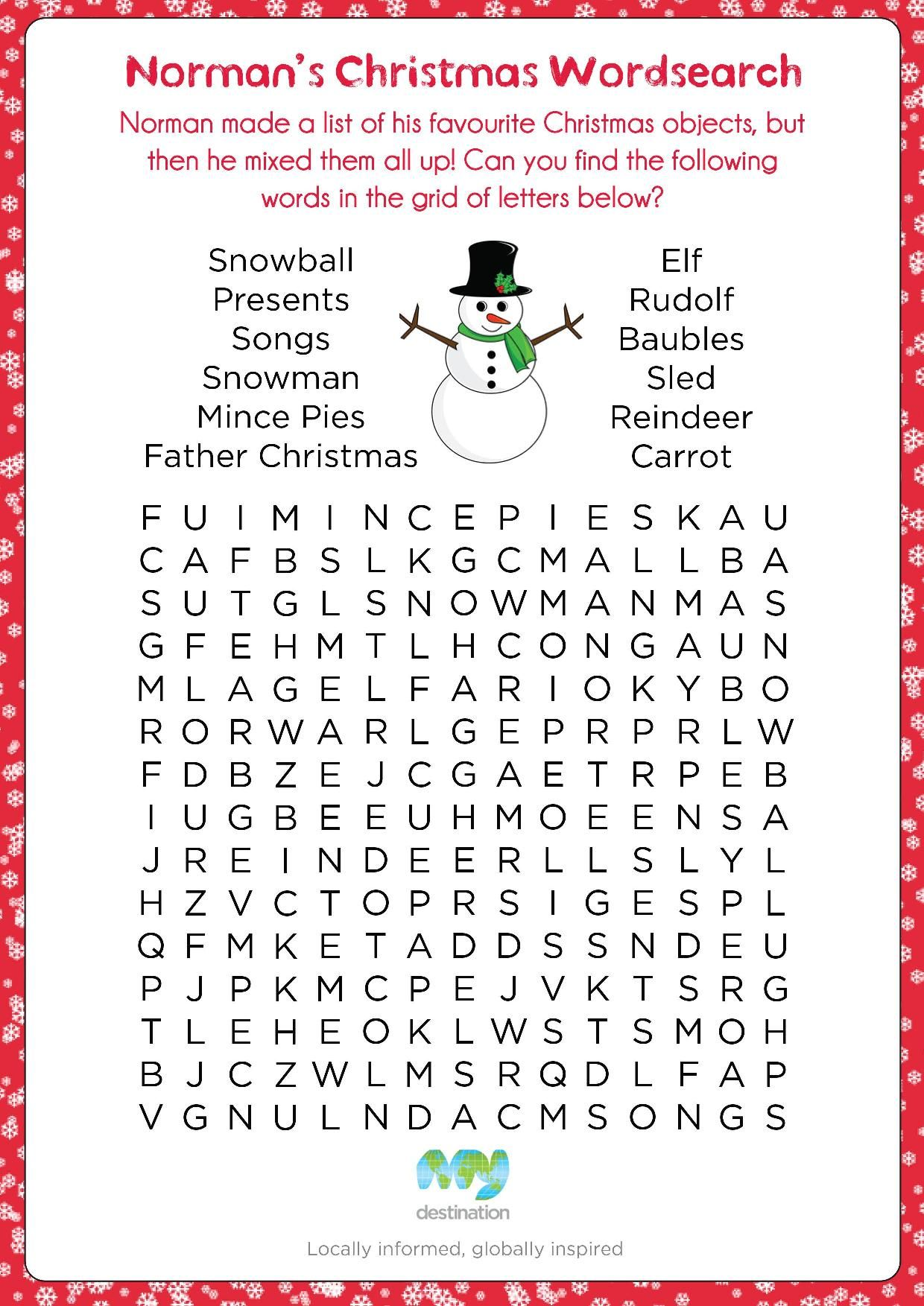 Christmas Wordsearch. Download this puzzle for free at the