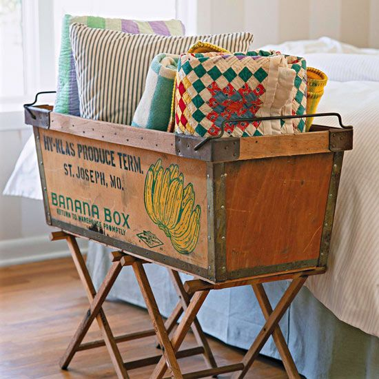An antique fruit crate adds style and storage, furniture inspiration: http://www.bhg.com/decorating Possible new use for directors chair base