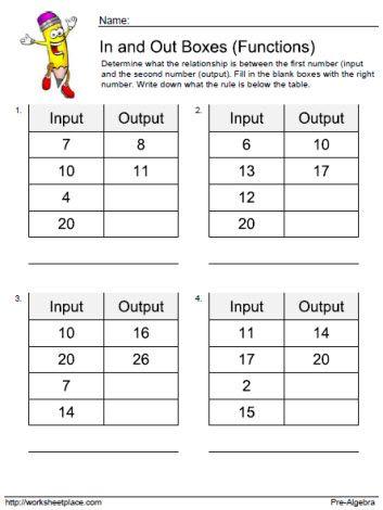 Input Output Worksheet 3 Math Patterns Fourth Grade Math