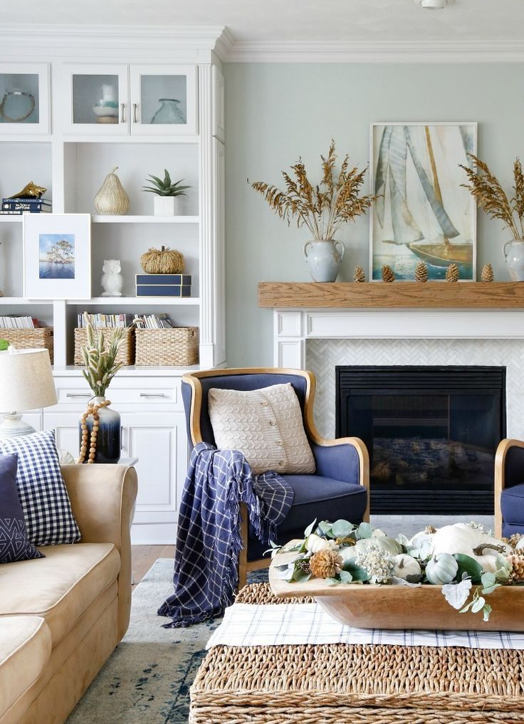 Navy and Neutral Fall Living Room + Kitchen Tour images