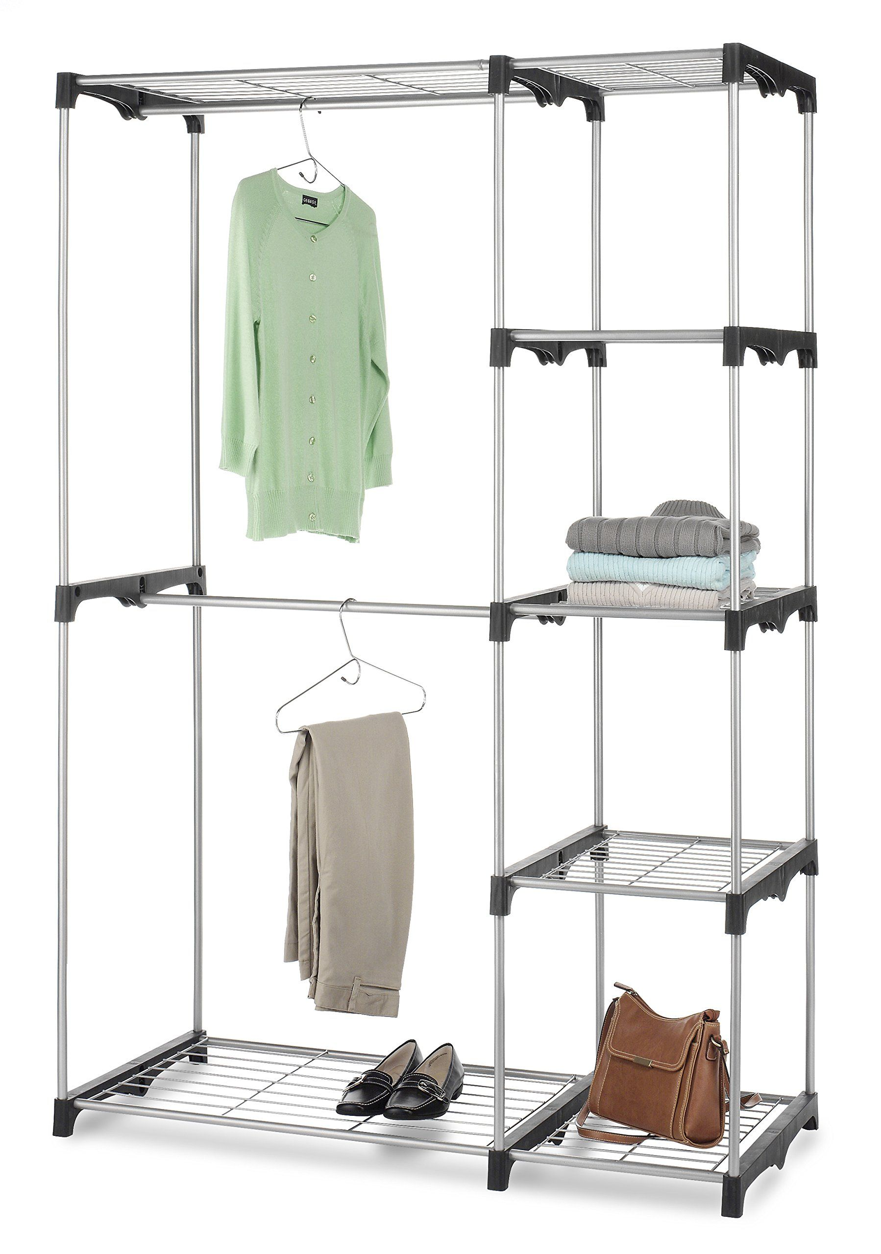 freestanding x cover double rod system whitmor closet walmart