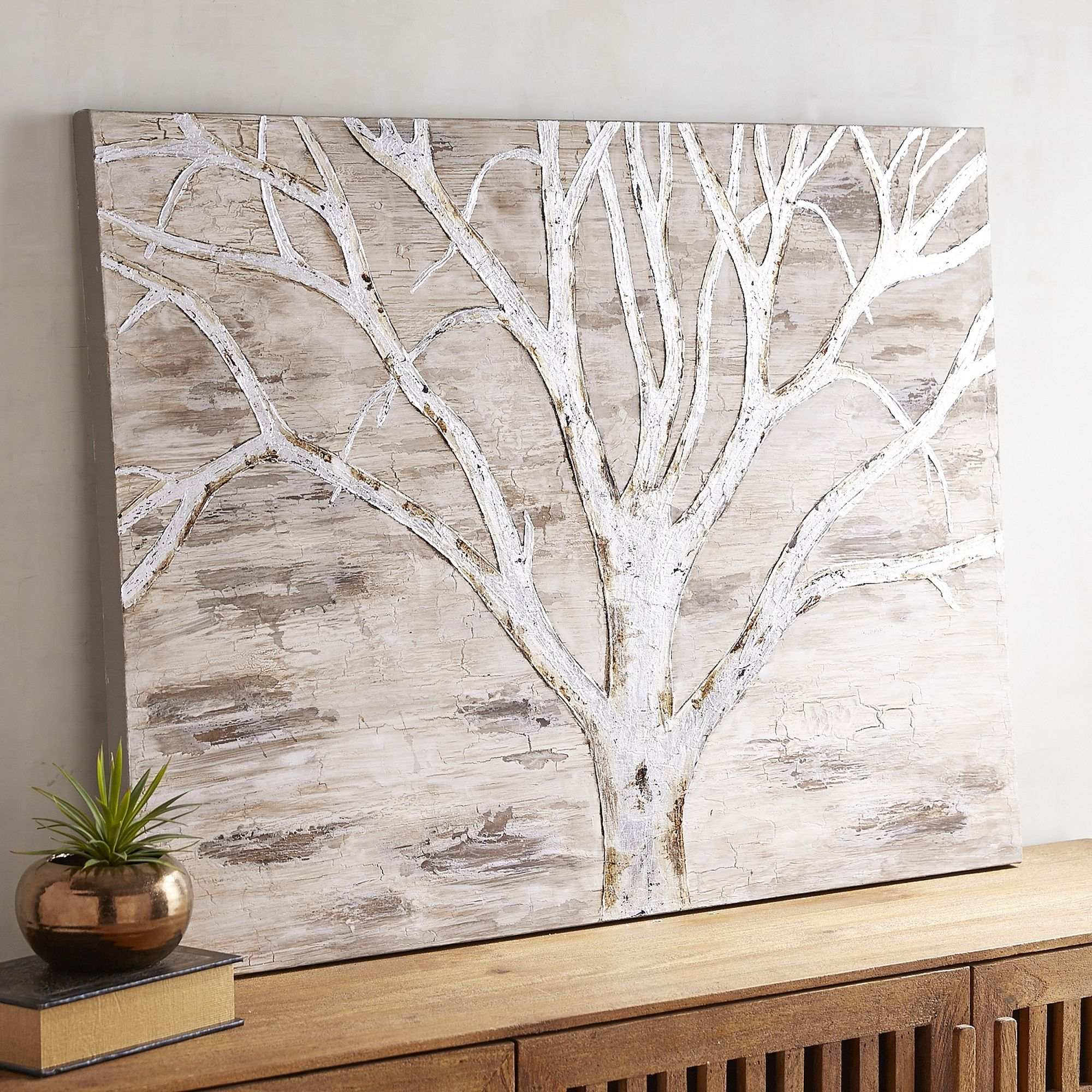 Pier One Silver Tree Silhouette Art 160 If You Re Looking To Add Some Scenic Beauty To Your Living Spa Tree Wall Art Pier One Wall Art Nature Canvas Painting