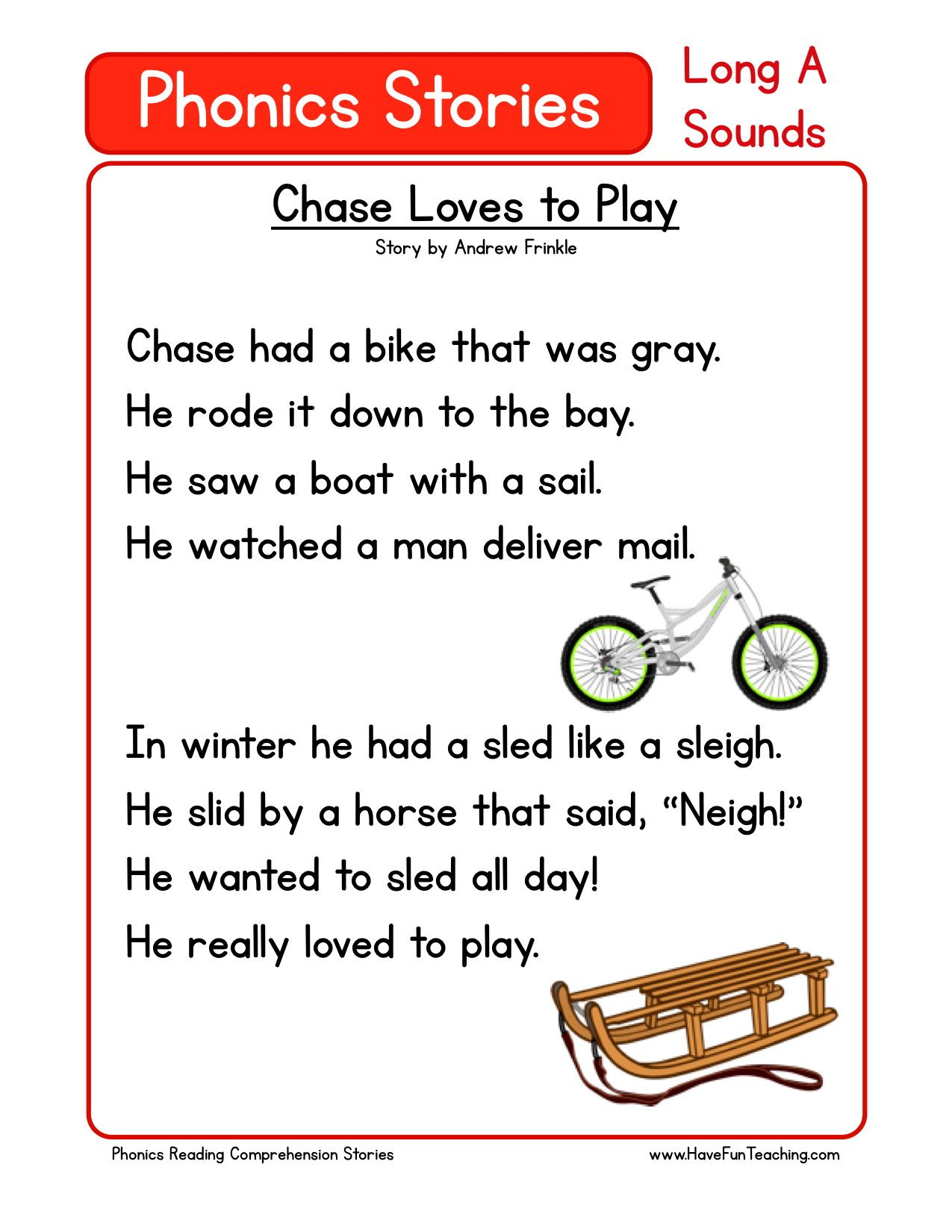 Reading Comprehension Worksheet Chase Loves To Play Kindergarten Reading Worksheets Reading Comprehension Preschool Reading Kindergarten stories and reading