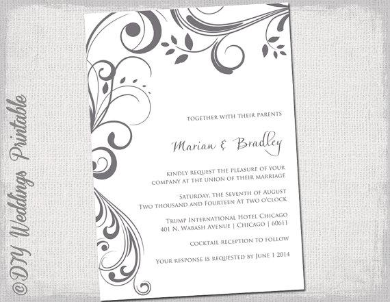 wedding invitation templates charcoal gray scroll invitations you