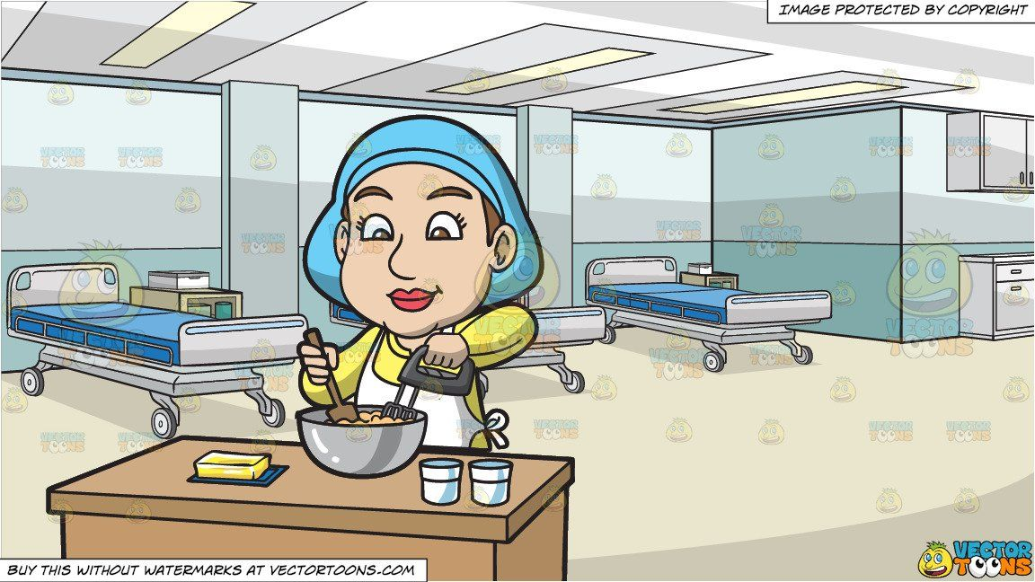 A Woman Mixing The Cake Batter and Inside A Medical Clinic