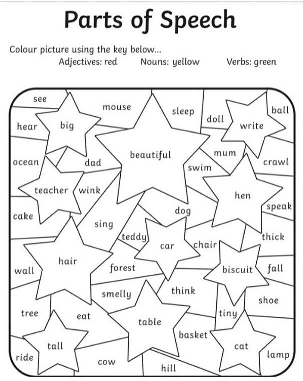 Parts of Speech coloring page Parts of speech worksheets