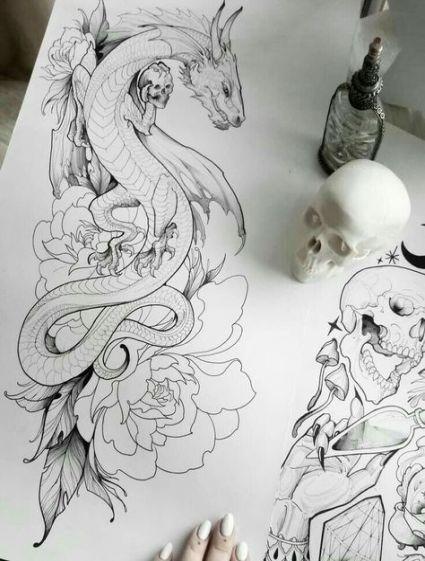 Photo of Tattoo Dragon Zeichnung Tinte 68 Ideen für 2019