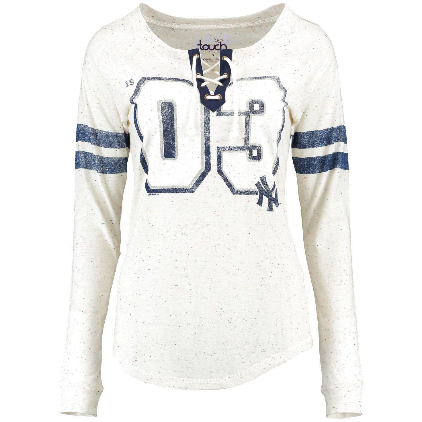 New York Yankees Touch by Alyssa Milano Women s Kick Off Long Sleeve T-Shirt  - White e1538fa4a