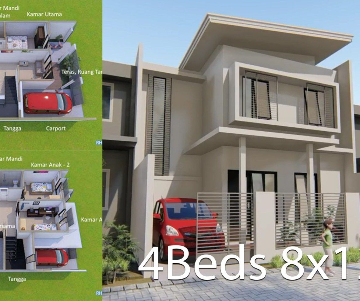 Home Design Plan 8x12m With 4 Bedrooms 1 Home Design Plan House Design Minimalist House Design