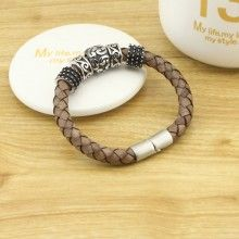 Pure handmade real leather braided leather cord stainless steel accessories stainless steel magnet buckle bracelet