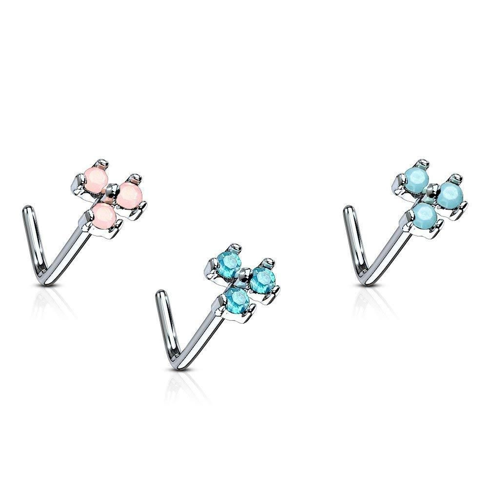 MoBody 7 Piece CZ Nose Ring Stud Set 20G Surgical Steel Nose Piercing Screws Value Pack 0.8mm