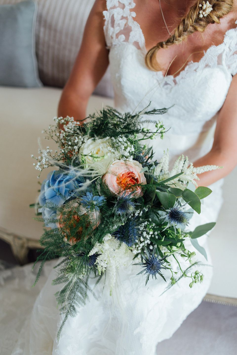 An Essence of Australia Gown and Flowers in her Hair for a