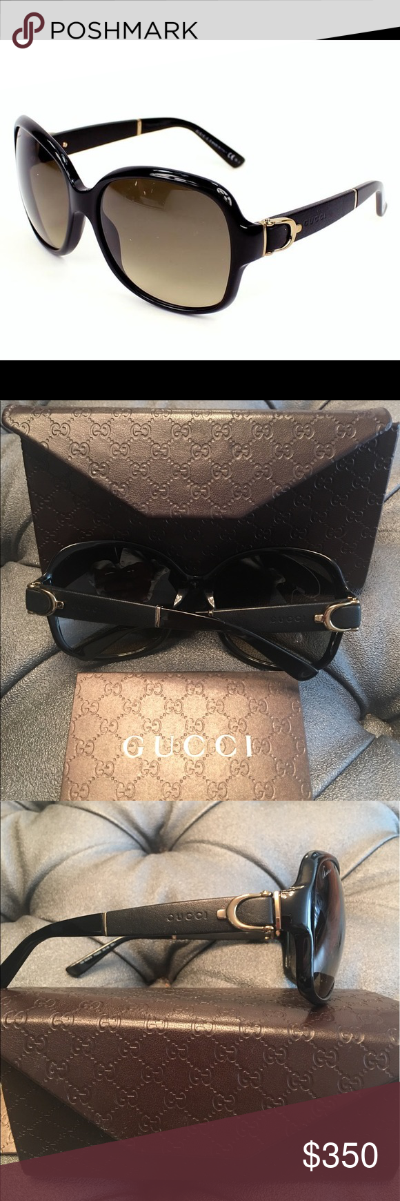 bca9752c1d5 Gucci leather buckle NWOT sunglasses NEW Gucci GG 3638 S Black Oversized Buckle  Leather Sunglasses Size 58-16-125 Comes with Gucci case