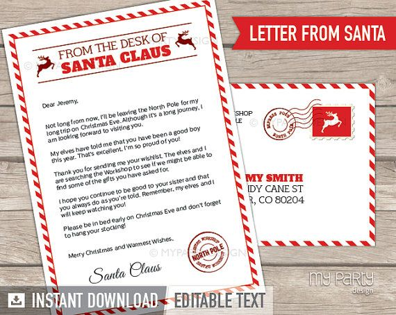 Letter from Santa kit with Envelope Template - Red Christmas - letter envelope template