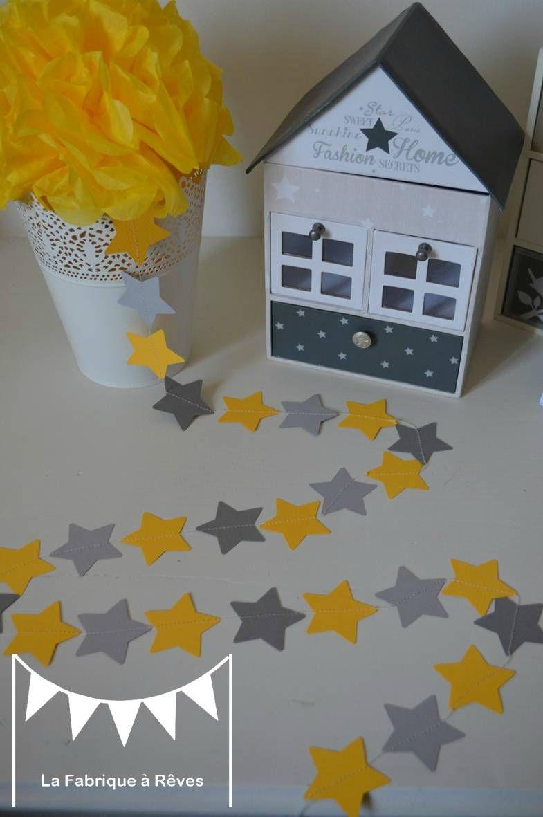 guirlande étoiles cousues papier carton gris jaune étoile décoration ...