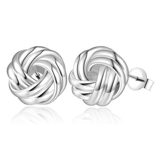 Ohrringe-Silber-Knoten-Ohrstecker-Silberohrring-rund-Edelstahl-Damen-Stecker