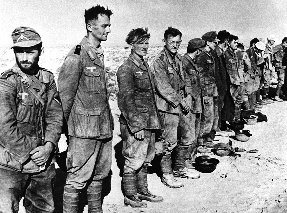 Some of the 97 German prisoners captured by the British ...