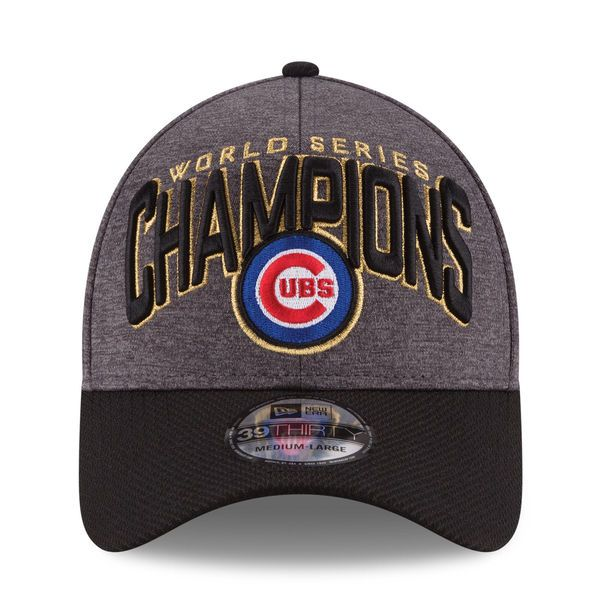 Chicago Cubs New Era 2016 World Series Champions Locker Room On Field  39THIRTY Flex Hat - Graphite Black 1fd9df2f8b