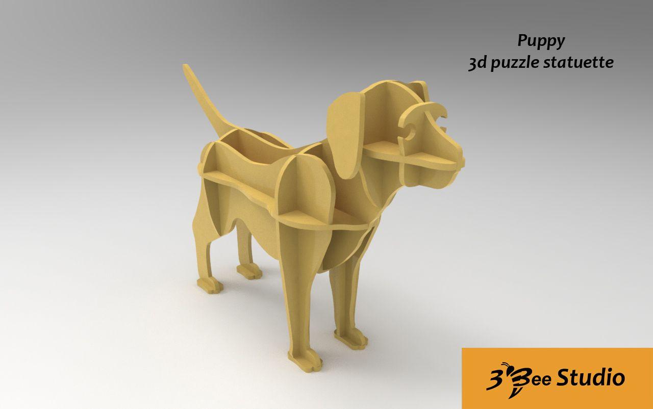 Puppy 3d Puzzle Mini Shelf Plan Vector File For Cnc 3bee Studio  # Beestudio Muebles