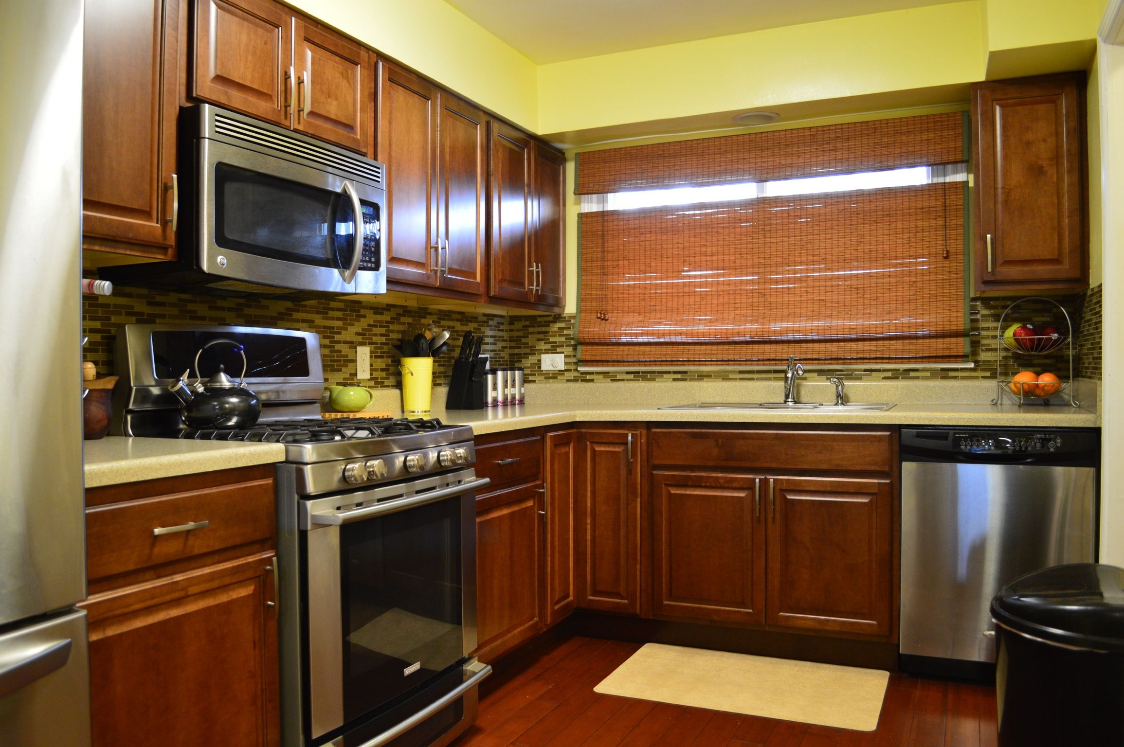 Kitchen Remodel. Cognac Cabinets From The #TheHomeDepot. Bamboo Flooring  From #LumberLiquidators.