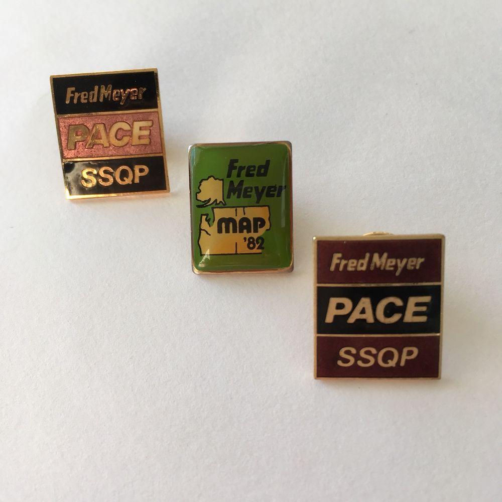 3 Fred Meyer Employee Lapel Pins Enamel Pace SSQP Map 1982 ...