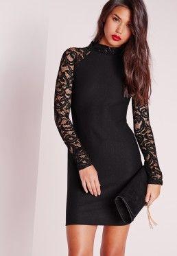 55be98707 Robe moulante noire manches longues en dentelle Petite   dress ...