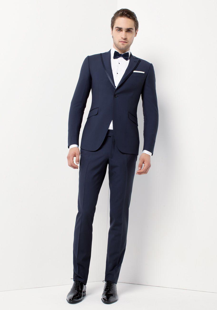 Smoking bleu col gansé   Jean De Sey, costumes de mariage pour homme et  accessoires bcdd7ce781a1