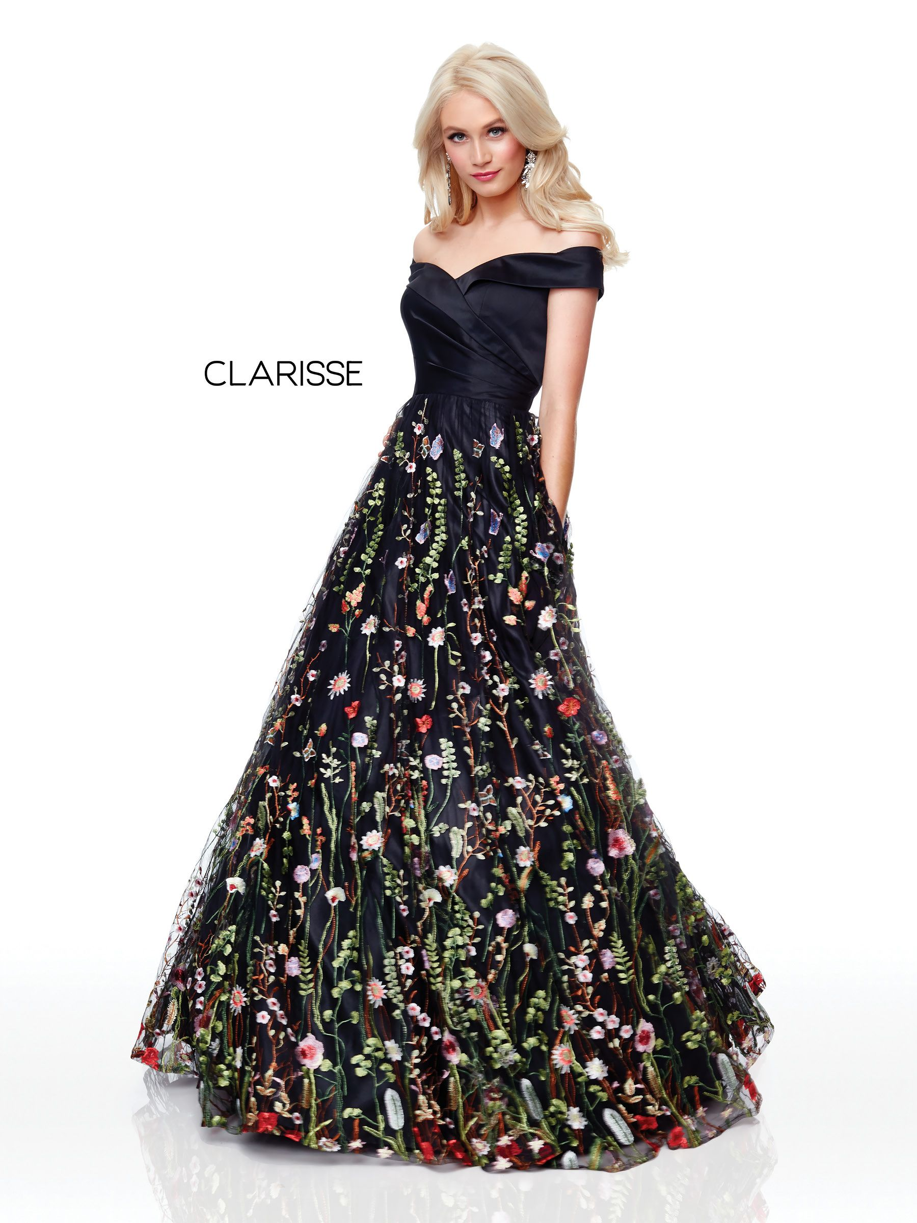 00f84e9fabd 3803 - Black embroidered off the shoulder ball down with a satin pleated top