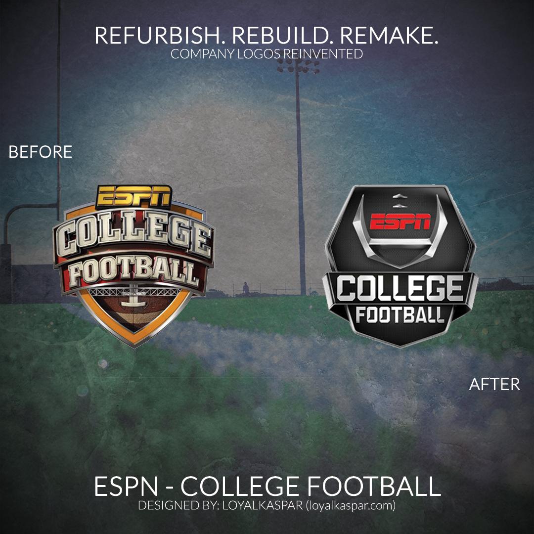 Refurbish Rebuild Remake Today S Post Features Company Logos Reinvented Espn College Footba Espn College Football College Football Games Football Design
