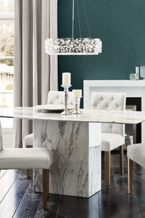 Jura White Marble Dining Table By Alfrank