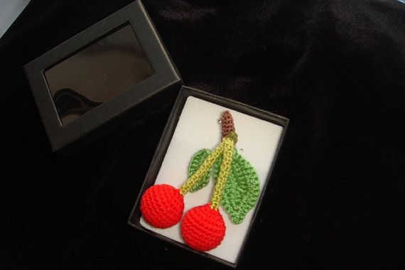 cherry brooch  red green  handmade berry  by MiracleFromThreads, $25.00